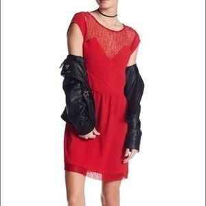 The Kooples Lace Yoke Embossed Dress